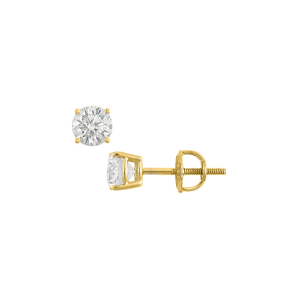 earrings prong white stud gold round diamond backs in p with screw solitaire w